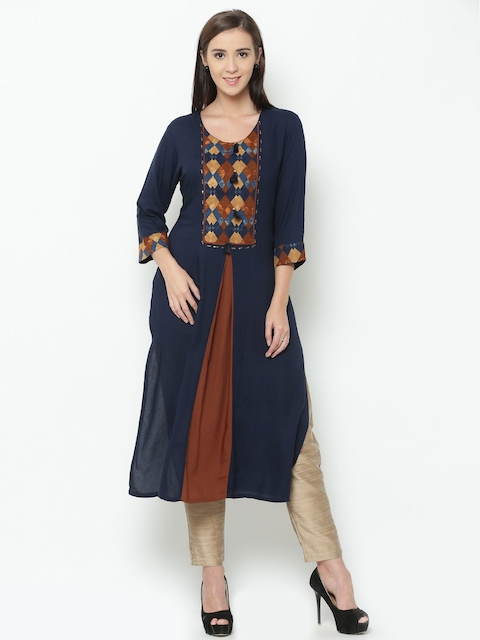 Shree Women Navy Printed Straight Kurta