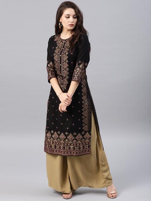 Vishudh Women Black & Golden Printed Straight Kurta 1