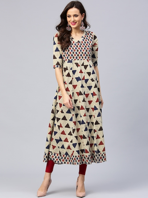 AKS Women Beige & Red Printed Anarkali Kurta