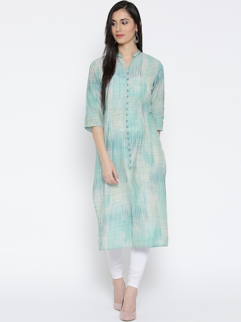 Shree Women Blue & Cream-Coloured Printed Straight Kurta