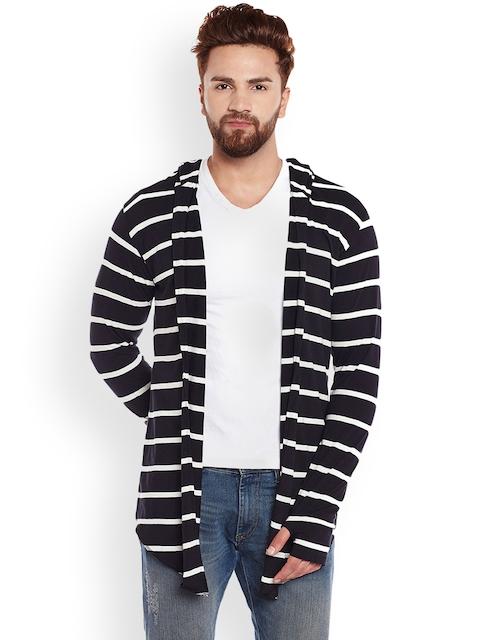 CHILL WINSTON Men Black & White Striped Cardigan