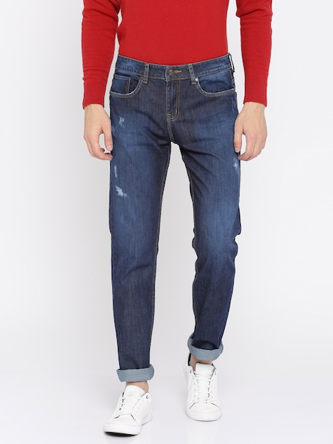 American Crew Men Navy Straight Fit Mid-Rise Low Distress Stretchable Jeans