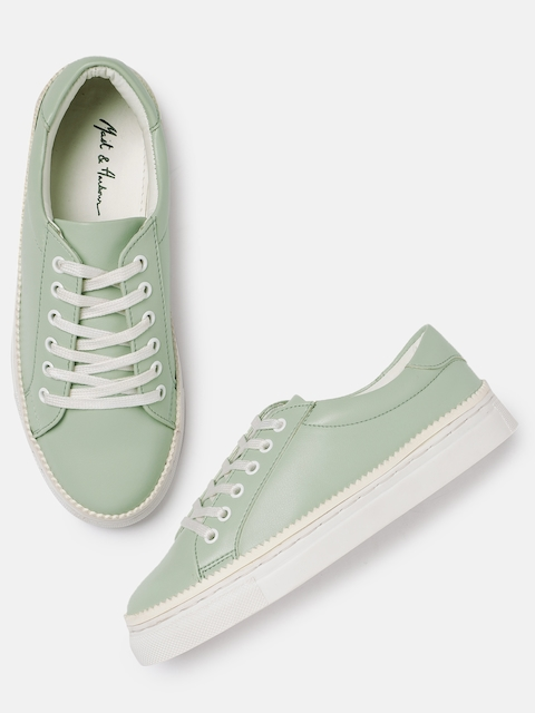 Mast & Harbour Women Lime Green Sneakers for girls