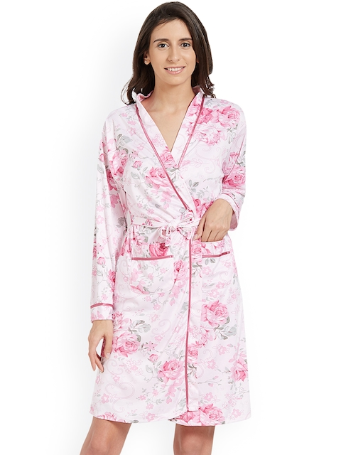 48f0d88d924 Blush by PrettySecrets White   Pink Printed Nightdress with Robe BAW0817NW19
