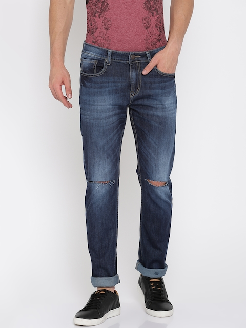 American Crew Men Blue Straight Fit Mid-Rise Slash Knee Stretchable Jeans