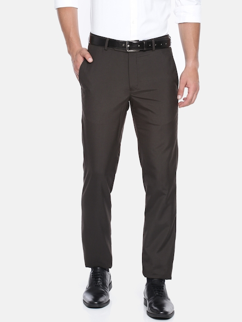 University of Oxford by People Men Black Custom Fit Solid Formal Trousers