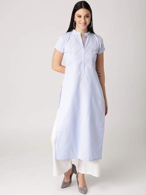 Libas Women Blue & White Checked Straight Kurta
