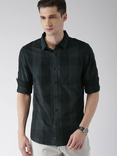 HIGHLANDER Men Black & Grey Slim Fit Checked Casual Shirt