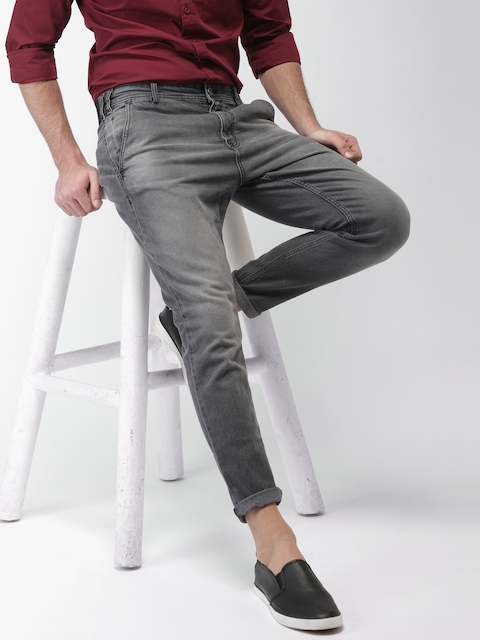 HIGHLANDER Men Charcoal Slim Fit Mid-Rise Clean Look Stretchable Jeans