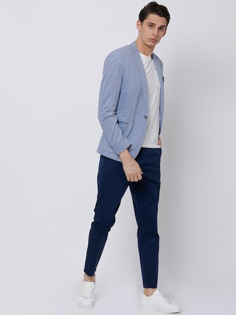 HIGHLANDER Men Blue Tapered Fit Solid Chinos 5