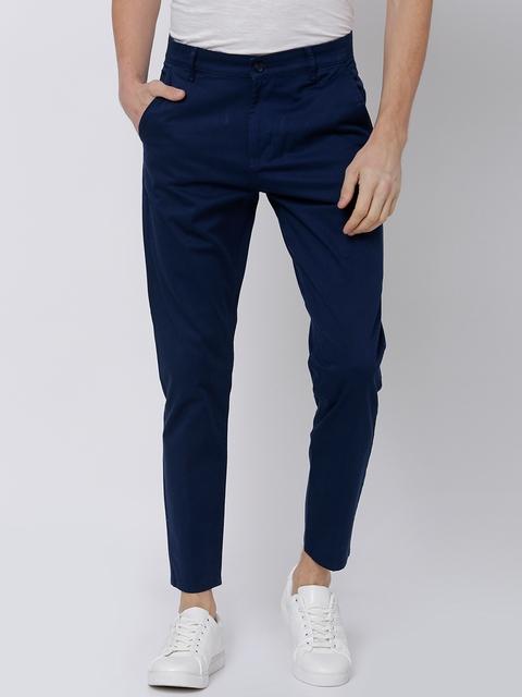 HIGHLANDER Men Blue Tapered Fit Solid Chinos 1