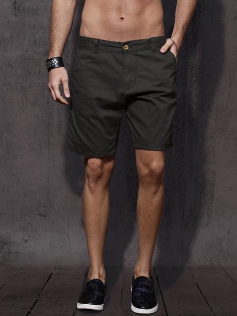 Roadster Men Charcoal Grey Solid Regular Fit Regular Shorts