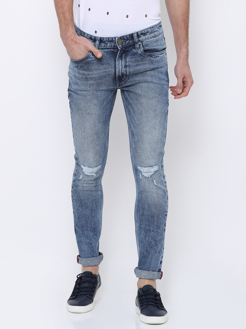 LOCOMOTIVE Men Blue Slim Fit Mid-Rise Mildly Distressed Stretchable Jeans