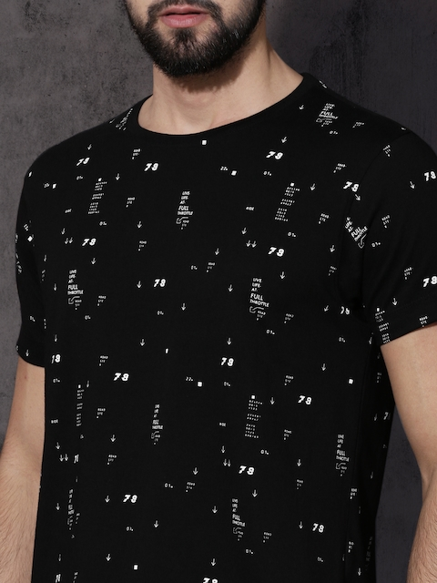 Roadster Men Black All-Over-Printed Round Neck T-shirt 2