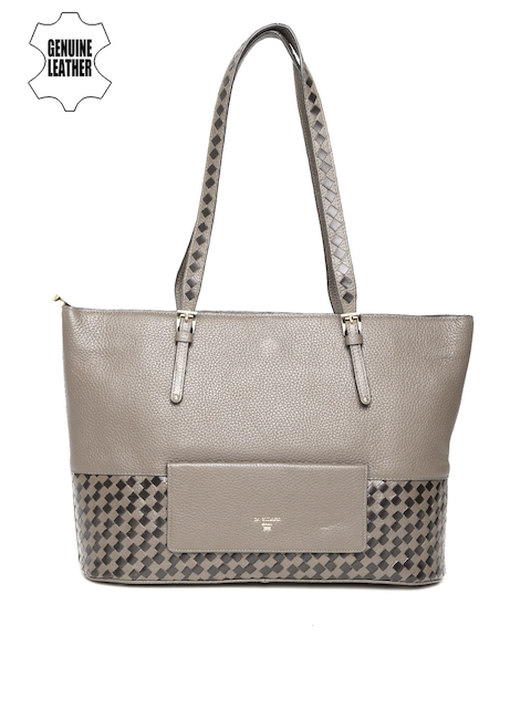 f5a081a1ae52 Da Milano Grey Leather Shoulder Bag with Basketweave Pattern