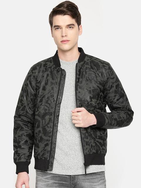 Being Human Clothing Men Black & Olive Green Printed Bomber Jacket