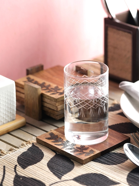 VarEesha Set of 6 Wooden Hand Crafted Brown Coasters