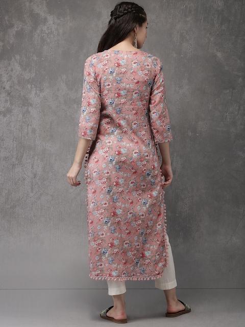 Anouk Women Pink Printed Straight Kurta 4