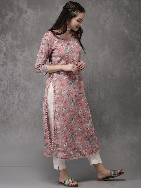Anouk Women Pink Printed Straight Kurta 3