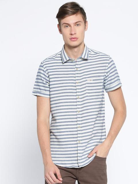 U.S. Polo Assn. Denim Co. Men Navy Blue & Off-White Regular Fit Striped Casual Shirt