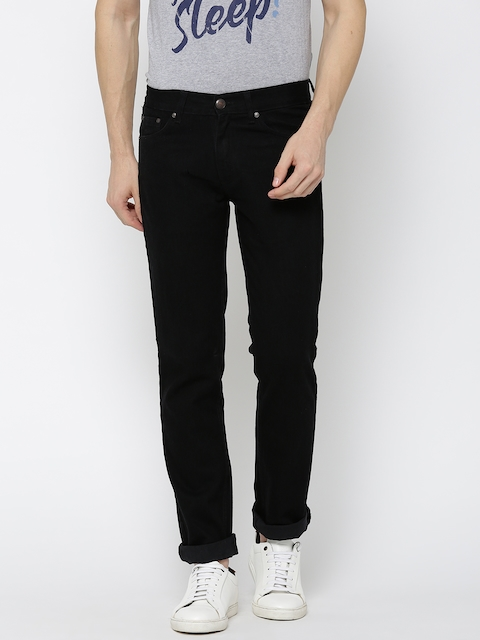 American Crew Men Black Straight Fit Mid-Rise Clean Look Jeans