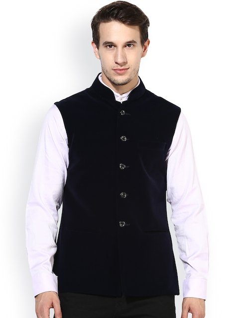Hangup Men Navy Blue Solid Nehru Jacket