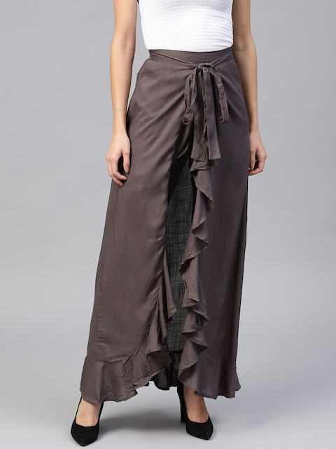 Nayo Taupe Solid Ruffled A-Line Maxi Skirt with Attached Trousers