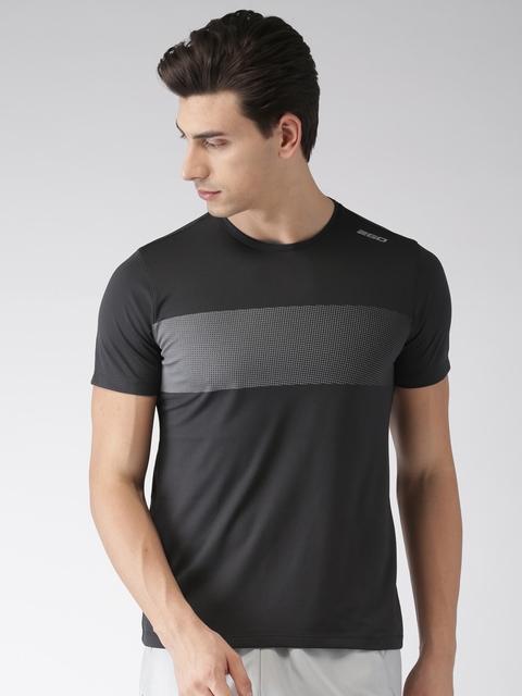 2GO Men Black Solid Round Neck T-shirt