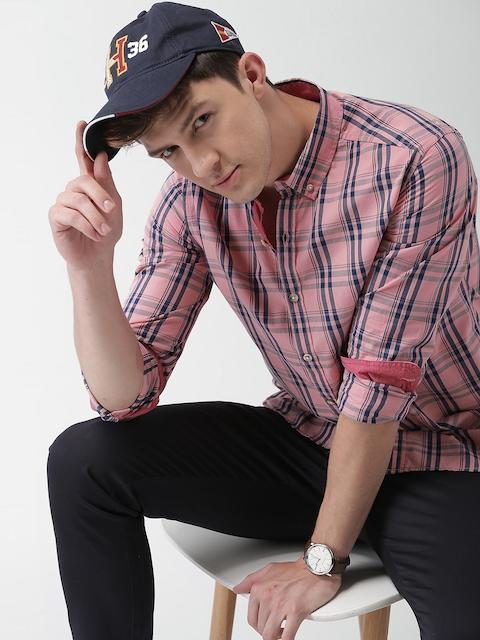 Harvard Men Peach-Coloured & Navy Blue Slim Fit Checked Casual Shirt