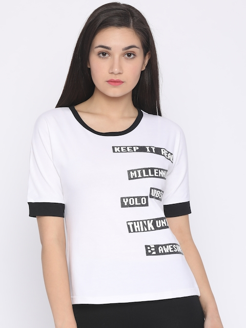 Jealous 21 Women White Printed Round Neck T-shirt