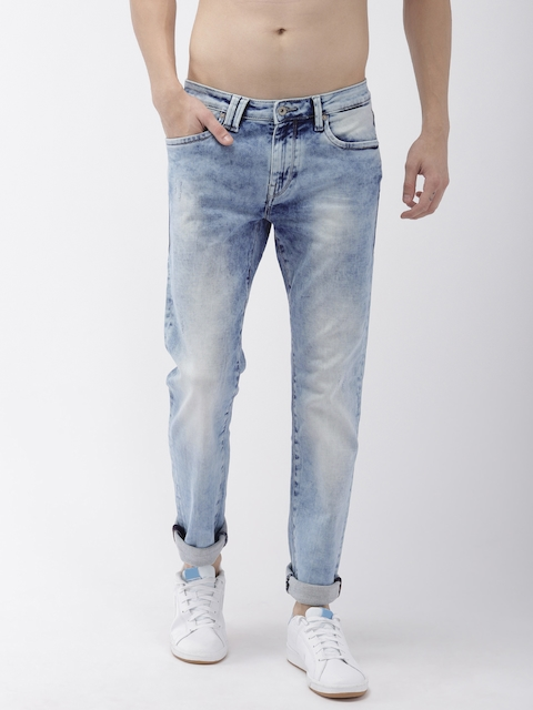 Flying Machine Men Blue Michael Slim Tapered Fit Low-Rise Low Distress Stretchable Jeans