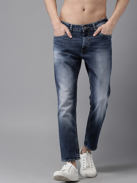 HERE&NOW Men Blue Tapered Fit Mid-Rise Clean Look Cropped Stretchable Jeans