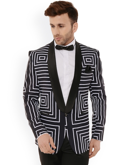 Hangup Men Black & White Geometric Regular Fit Print Tuxedo Blazer