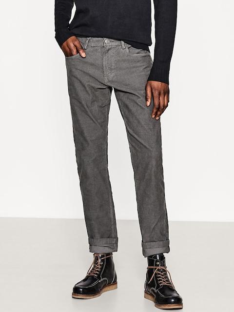 df06665b5e4 ESPRIT Men Charcoal Grey Slim Fit Solid Corduroy Trousers