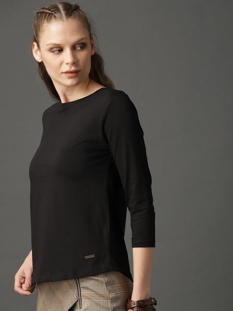 Roadster Women Black Solid Round Neck T-shirt 3