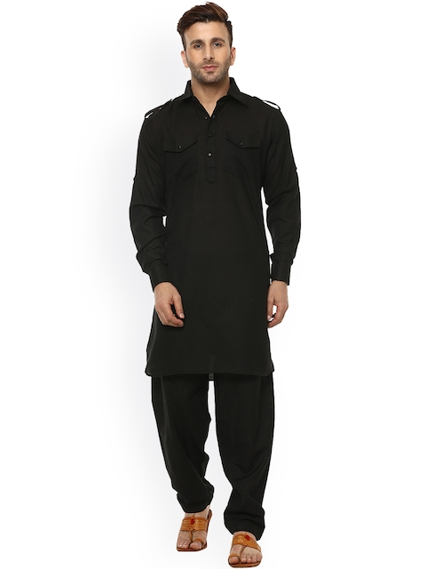 Hangup Men Black Solid Pathani Kurta