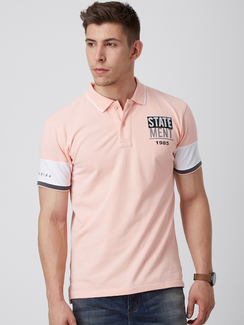FIDO DIDO Men Pink Solid Polo Collar Slim Fit T-shirt