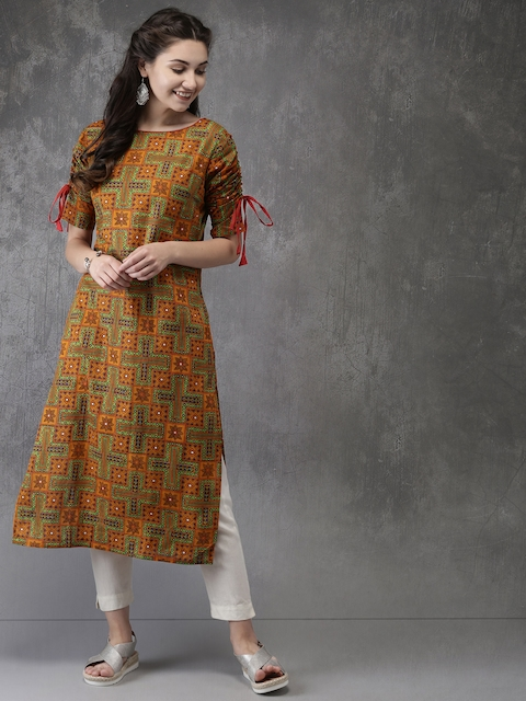 Anouk Women Orange & Green Printed Straight Kurta
