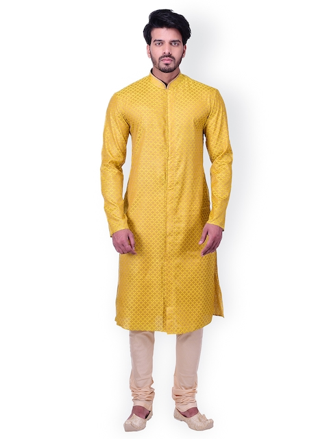 Manyavar Men Yellow Self Design Kurta with Churidar