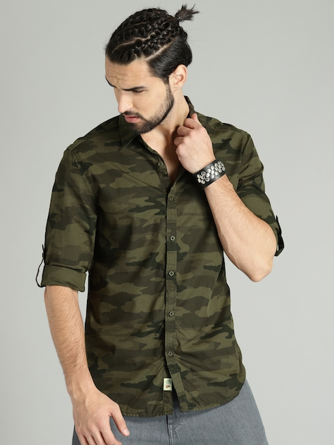 Roadster Men Olive Green Regular Fit Printed Casual Shirt