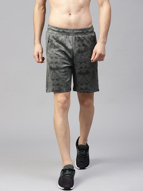 HRX by Hrithik Roshan Men Charcoal Grey & Black Printed Regular Fit Sports Shorts