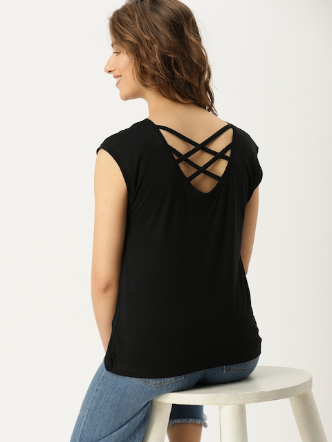 DressBerry Women Black Solid Styled Back Top