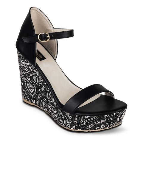 Shoetopia Women Black Solid Sandals