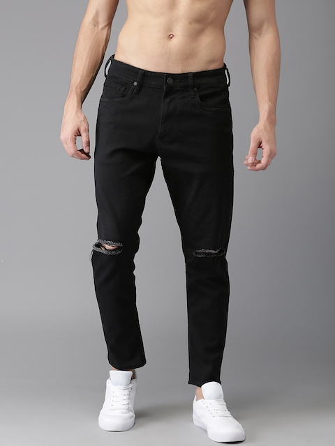 HERE&NOW Men Black Slim Tapered Fit Mid-Rise Slash Knee Stretchable Cropped Jeans