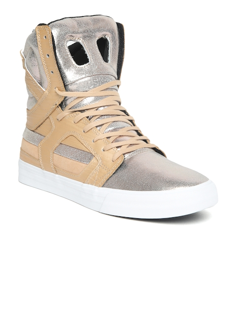 136f069eee8a Supra Men Silver-Toned Solid Leather SKYTOP II High-Top Sneakers Image