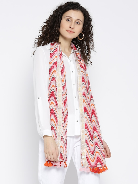 I AM FOR YOU Women Off-White & Red Printed Stole
