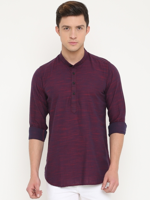 Cross Court Men Violet & Maroon Solid Straight Kurta