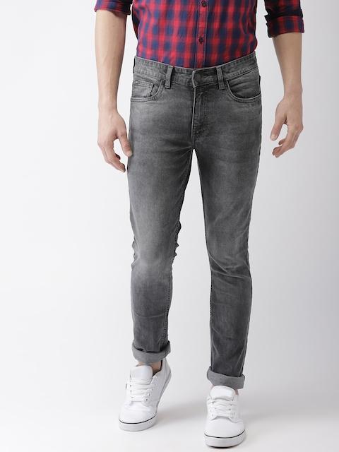 HIGHLANDER Men Grey Slim Fit Mid-Rise Clean Look Stretchable Cropped Jeans
