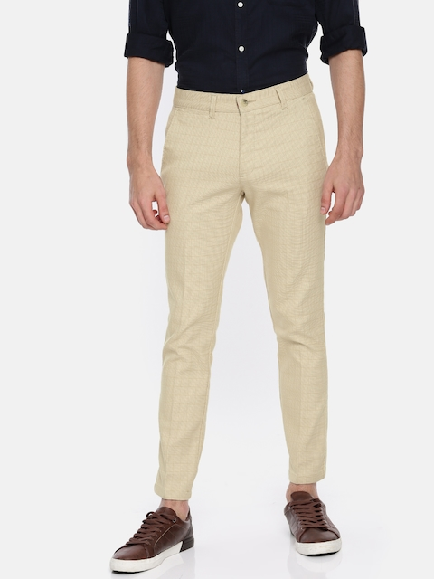 Independence Club Men Beige Smart Slim Fit Checked Cropped Trousers
