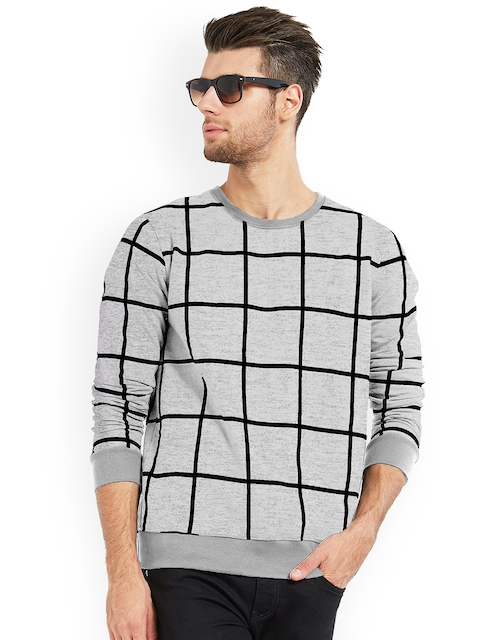 Maniac Men Grey Checked Round Neck T-shirt